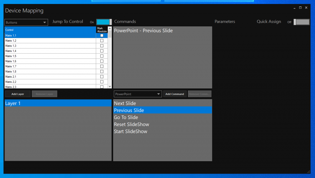 Central Control mapping window assigning PowerPoint commands to an APC Mini