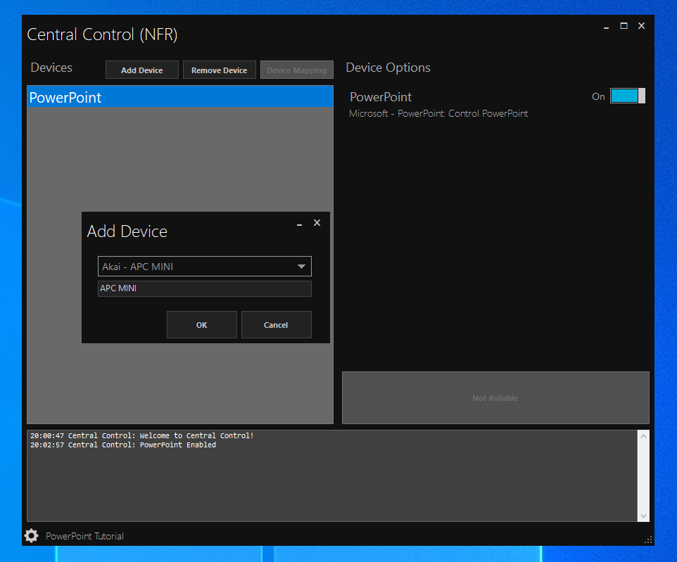 Central Control main window adding a PowerPoint device to project